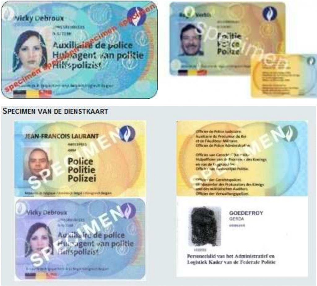 Legitimation card from Belgian Police ( since 2005 )